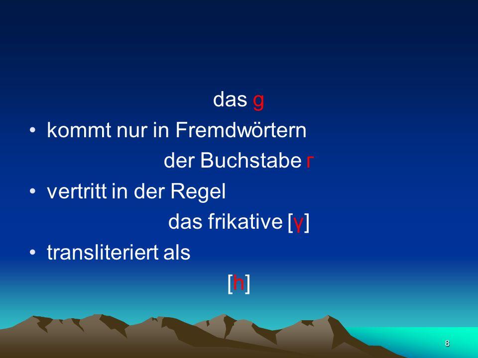 das gkommt nur in Fremdwörtern. der Buchstabe г. vertritt in der Regel. das frikative [γ] transliteriert als.